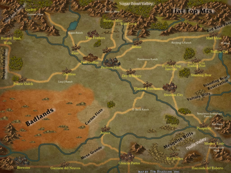 Eldorado County Map for Boot Hill RPG